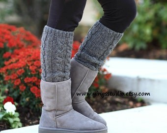 Woman Leg Warmers - Wool Leg Warmers-Boot Cuffs-Leg Warmers- Cable Knitted - Hand Knit - 100% wool -Charcoal Grey - Winter Accessories