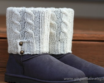 Cable knit Leg Warmers - Boot cuffs - 100% wool  - Hand Knitted - Cream White - Bronze Button - Fall Fashion - Winter Accessory
