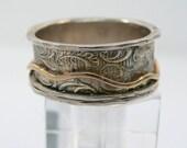 Spinner ring. Sterling silver gold spinner ring (gsr-7063) floral spinner ring, gift for her. Wide spinner ring. Curvy ring