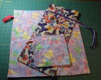 Butterfly Print Cloth Gift Bag Set