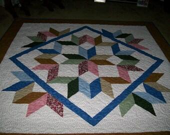 Multi-Colored Queen Size Carpenter Star Quilt