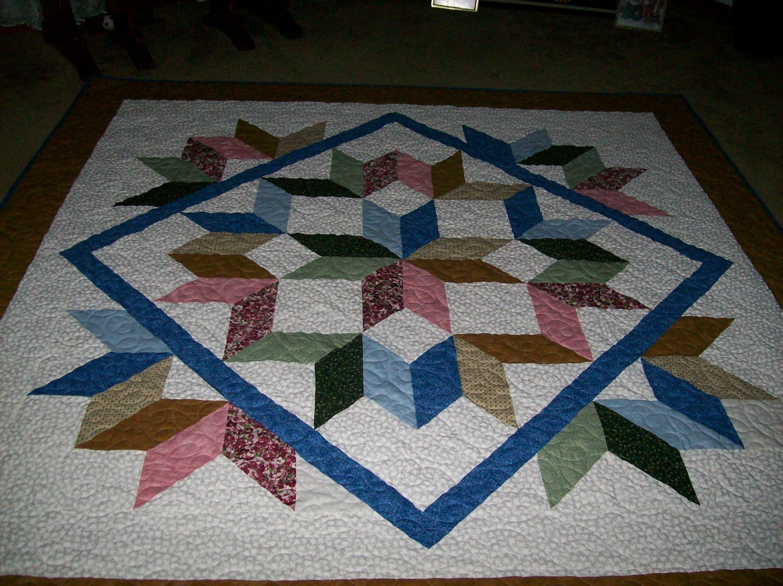 Multi Colored Queen Size Carpenter Star Quilt
