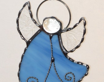 Stained Glass Suncatcher - Angel, Pale Blue Opal Glass with Clear Textured Wings, Ornament