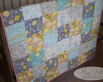 Baby Crib Bedding- Design Your Own Baby and Toddler Quilt in Fabrics You Choose- Patchwork Quilt- Modern Quilt