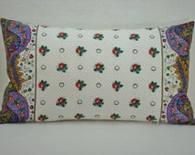French Country Red and White Petite Floral Lumbar Pillow with Pierre Deux French Border 11x20
