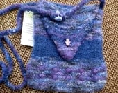 Purples and Blues Knit and Felted cross body or shoulder Bag with Yoga Hand Beads