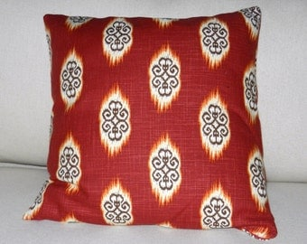 Ikat Pillow Cover Rust, Brown, Orange Cotton Linen Slub  Fabric - 18 x 18 inch with zipper closure Home Dec Accessories for Bed, Sofa, Chair