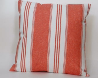 Coral and White Stripe Throw Pillow Cover, 18 x 18 inch with zipper closure, Bedroom, Sofa, Nursery