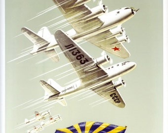 The wings of the Soviet Land. Long life the mighty Soviet aircraft! Vintage posters,cheap posters online, propaganda poster, retro, prints