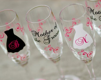 6 Bride and Bridesmaids gift champagne glasses, black hot pink, Personalized set of wedding flutes bachelorette. Bridesmaid gifts. Bride