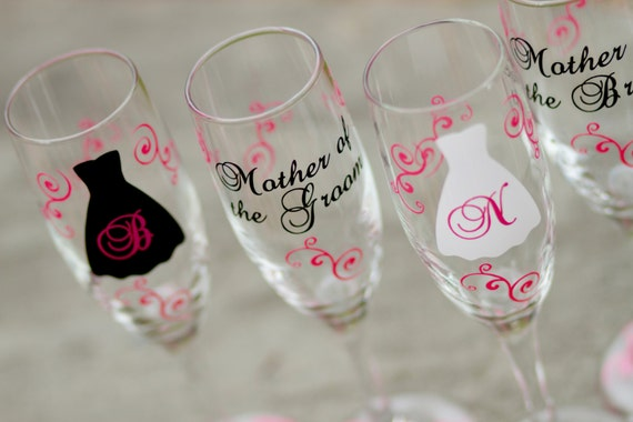 6 Bride and Bridesmaids gift champagne glasses, black hot pink, Personalized set of wedding flutes bachelorette. Will you be my Bridesmaid?