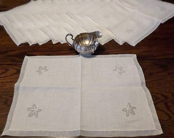 12 Vintage Placemats - Ivory Linen with Organdy Border and Leaf Detail
