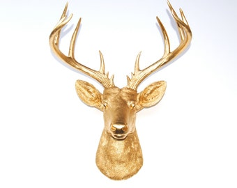 Large Deer Head - Gold Deer Head Wall Mount - 14 Point Stag Head Antlers Faux Taxidermy ND0808