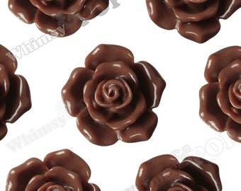 16mm Pointy Rose Brown Flower Cabochons, Flower Cabs, Rose Shaped, Rose Cabochons, Rose Flatback Embellishments (R3-120)