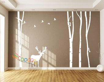 Wall Decal, wall Stickers ,Tree Wall Decals ,Wall decals, Removable, Tree and Birds, 4 trees with Deer