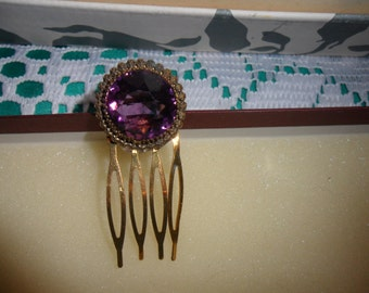 Authentic Vintage Antique Very Old Amethyst/Glass/CrystaL/Rhinestone Gold Hair Comb High End Stunningly Beautiful
