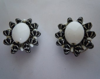 Vintage Black & White Glass Beads Clip Earrings Made in Austria