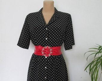 Buttoned Dress / Dress Vintage / Black / White Polka Dots / Buttoned / Size EUR42 / 44 / UK14 / 16