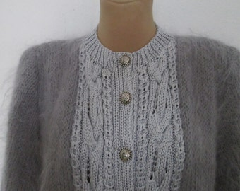 Mohair Sweater Vintage / Gray / Hand Knitted / Size Universal EUR48 X UK20