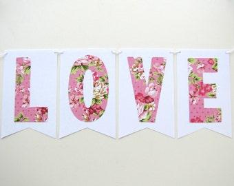 Love banner  love wedding banner floral wedding banner