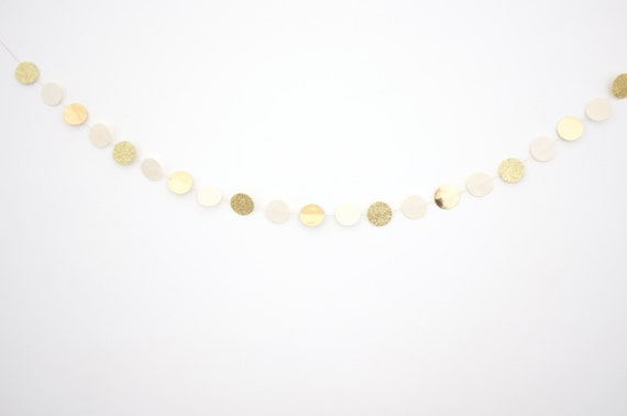 items similar to cream gold dot garland on etsy