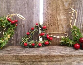 Set of THREE little ornaments