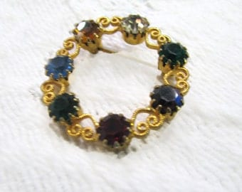 Mothers birthstone circle pin  brooch with glass jeweltone stones