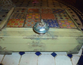 Moroccan inspired Box made with tiles, jewelry box, wedding gift