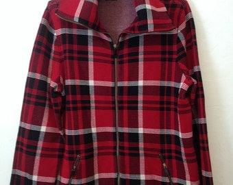 Ralph Lauren Red Plaid Outerwear  Knit Jacket