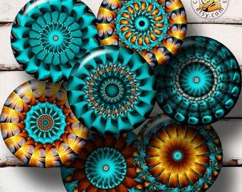 "Kaleidoscope Designs - Mandala - 1.313"" circles - printable Digital Collage Sheet CG-192nB - for 1 inch Buttons, Magnets"
