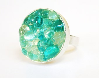 Blue Sea Glass Ring, Turquoise Seaglass Statement Ring