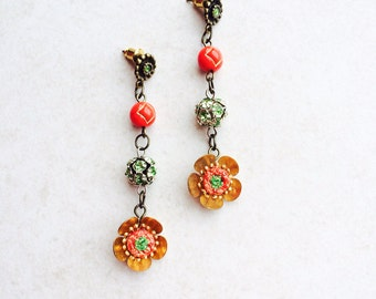 Red Green Mexican Earrings, Southwestern Flower Assemblage Earrings