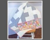 Modern Baby Quilt  Gray White Plus Sign  Crib Quilt in Grey White Pink  Organic Cotton  Geometric Play Mat  Toddler Girl Bedding
