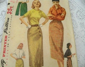 1956 Size Waist 28 Junior Miss Wrap-Around Slim Skirt Wonderful Whiz-Wrap Simple to Make Skirt Sewing Pattern Supply Skirt Rockabilly 50s c