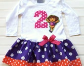 Girls Birthday Dress Dora Birthday Outfit Girls Dresses Kids Children Clothing Number Dress Baby toddlers 6 12 18 24 months Girl 2 3 4 5 6