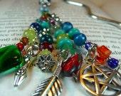 pentagram  wiccan Goddess  bookmark feather gift stones turquoise, agate  talisman spiritual magic