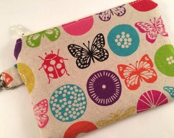 Ladybugs and Butterflies Small Zippered Pouch, Wallet, Notions Case, Phone Case, Coin Purse, iPod Case
