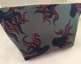 Octopus Makeup Bag. Cosmetic Bag, Toiletry Bag, Knitting Project Bag, Crochet Project Bag, Zippered Bag