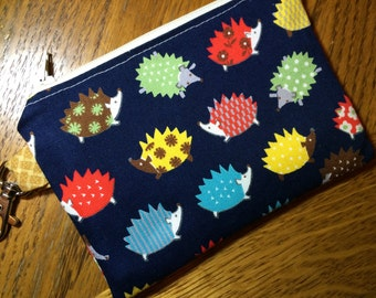 Blue Hedgehogs Small Zippered Pouch, Wallet, Notions Case, Hedgehog Gift, Phone Case