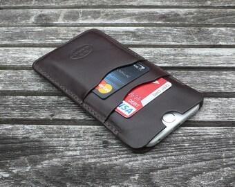 iPhone 6 - Leather case, Garny No.24 - Dark Brown - iPhone wallet / sleeve / case -ea