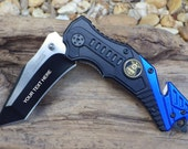 Police Pocket Knife,TF640PD, Laser Engraved, Personalized Wedding Grooms Men, Birthday, Anniversary Gift.