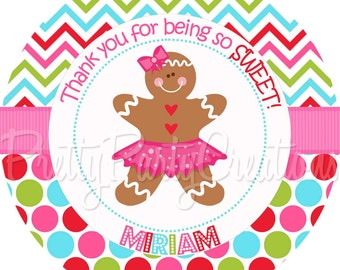 GINGERBREAD GIRL (Cookies and Cocoa) favour tags - 3, 2.5 or 2 inch - You Print