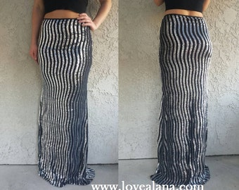 Custom! Silver/Black Maxi Striped long skirt - Gorgeous sequins, long sequined skirt (S,M,L,XL any length)
