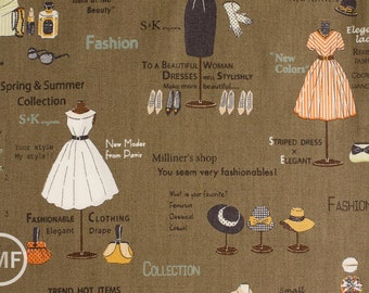Suzuko Koseki Show Window in Cocoa, Yuwa Fabric, SZ816973E, 100% Cotton Japanese Fabric