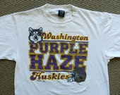 vintage UW Huskies Purple Haze T Shirt early 90s USA white tee college football XL Washington