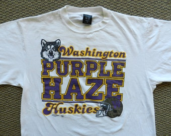 vintage UW Huskies Purple Haze T Shirt early 90s USA white tee college football XL Washington