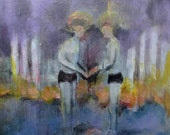 Purple and Blue Art Painting of Two Men Standing in Water with Fencing - Size 12x12 Original Acrylic Artwork - Gay Interest