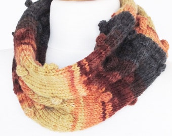 Beige Brown And Gray Colorfull Loop Knitting Scarf / Infinity Scarf / Neckwarmer