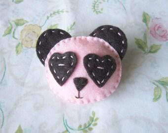 Pink Panda Felt Brooch