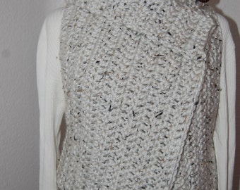 Crochet Chunky Vest Oatmeal with black flecks Coconut button closure